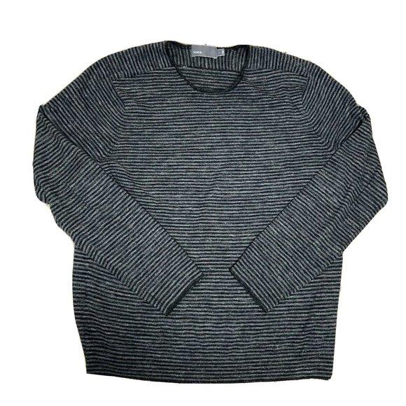 Vince Wool & Linen  Striped Long Sleeve Shirt
